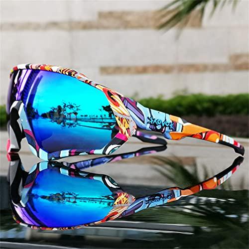 ERWEI Gafas de Sol Deportivas polarizadas, Gafas de Sol de Ciclismo polarizadas para Hombres Mujeres con 5 lenos Intercambiables para Correr béisbol Corriendo y Gafas de Ciclismo,A