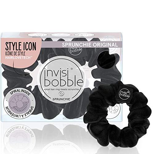 invisibobble, anello a spirale per capelli, colore nero, confezione da 2 pezzi, elegante bracciale con elastico resistente, accessorio per donne, delicato per ragazze e ragazzi e capelli spessi.