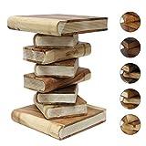Oriental Galerie Bücherhocker Nachttisch Beistelltisch Hocker Podest Deko Buch Stapel 50 cm Holz Shabby Chic Akazie Natur Creme