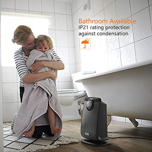 OPOLAR Space Ceramic Bathroom Heater with IP21 Water-Proof for Home & Office, Fast Heating & Auto Oscillation, Portable, Adjustable Thermostat, 1500W Black