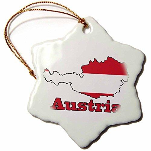 Riongeeo ORN_57048_1 Flagge Österreichs in der Umrisskarte und Name des Landes, Österreich-Weihnachtsschmuck, Keramikstern, 7,6 cm