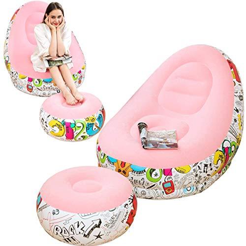 LONEEDY Aufblasbares Lazy Sofa, Familien-Lounge-Sessel mit aufblasbarem Fußkissen, Graffiti-Muster Beflockung Outdoor Klappsofa, geeignet für Zuhause oder Büro Ruhe (Pink)