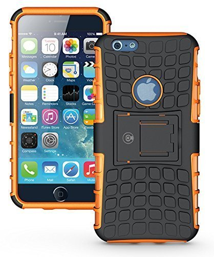 iPhone 6S Case, iPhone 6 Case by Cable and Case - [Heavy Duty] Tough Dual Layer 2 in 1 Rugged Rubber Hybrid Hard/Soft Impact Protective Cover [with Kickstand] for Men & Women - Orange