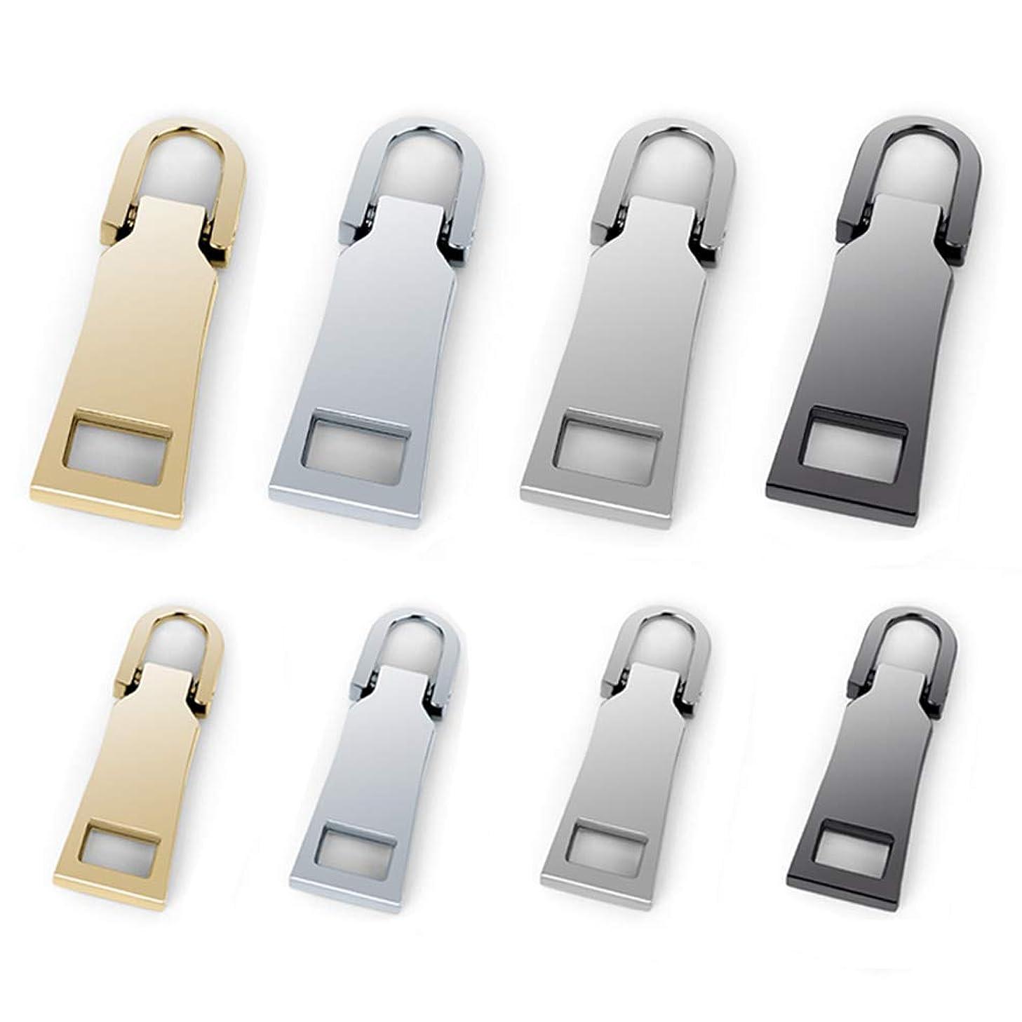 Zipper Pulls #5#3 8PCS - 4 Colors Metal Zipper Fixer Repair Replacement Pullers Metal-Plated Kits Zipper Sliders Zipper Pullers for Backpack Suitcase Jacket Bags Coat by FENGWANGLI