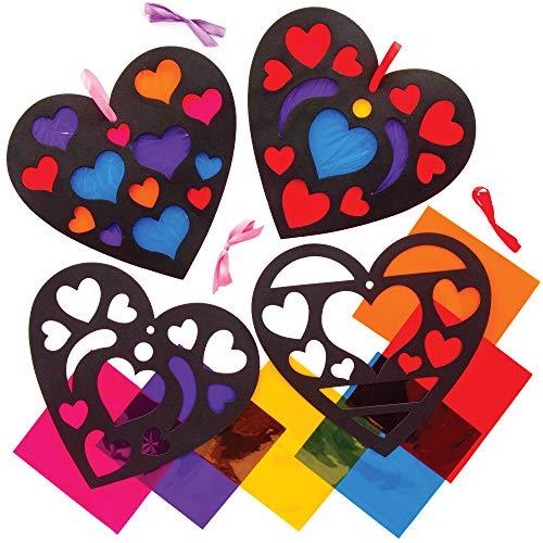 Baker Ross Herz Buntglas Effekt Deko Bastelsets für Kinder (6 Stück) Kreativsets zum Basteln und Dekorieren zu Valentinstag AT551