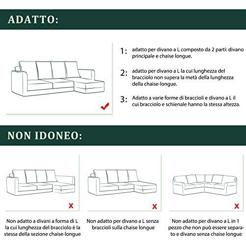 CHUN YI Jacquard Copridivano Componibile a Forma di L Pezzi in Tessuto Poliestere Elasticizzato Divano Angolare (Destra 2-Posti, Avorio)