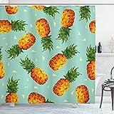 ABAKUHAUS Retro Duschvorhang, Vintage Strand-Sommer, mit 12 Ringe Set Wasserdicht Stielvoll Modern Farbfest & Schimmel Resistent, 175 x 180 cm, Seafoam olivgrün Orange