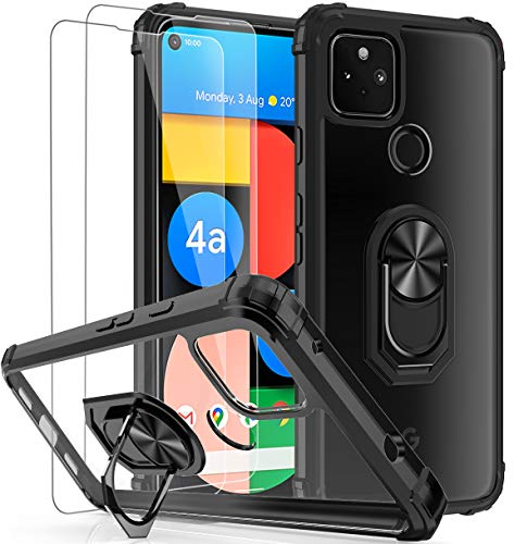 Probeetle Phone Case for Google Pixel 4A 5G(2020) Case with HD Screen Protector[5G ONLY, not fit 1st gen Pixel 4a][Military Grade] Clear Phone Case with Magnetic Car Ring Kickstand (Clear/Black)