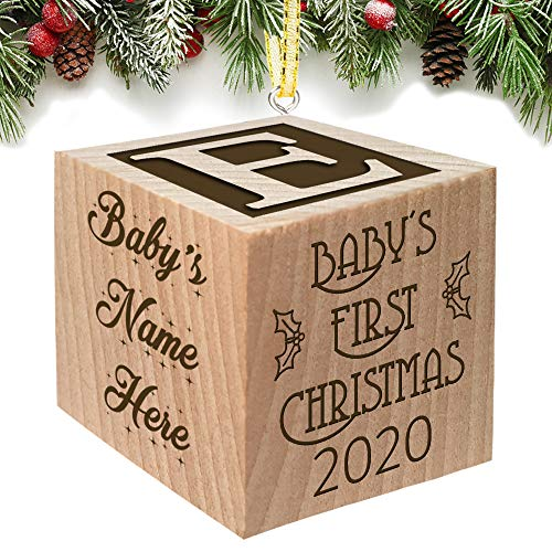 Babies First Christmas Ornament Gift 2021 for Boy or Girl - Keepsake Personalized Baby Block Custom Engraved Wooden My First Babys Baby's for Newborn Infant Mom, Dad, 1st Gift Date by Glitzby
