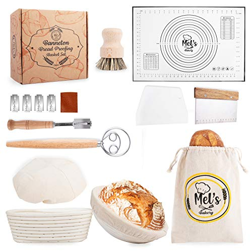 Mel's Bakery Banneton Basket and Dough Accessories Set - Combo Kit for Bread Sourdough Making-2 Rattan Baskets Lame Metal and Plastic Scraper Brush Baking Mat Danish Whisk Carrying Bag Included-Bakery Prep Gift