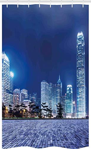 ABAKUHAUS Städtisch Schmaler Duschvorhang, Hong Kong Skyline Nacht, Badezimmer Deko Set aus Stoff mit Haken, 120 x 180 cm, Königsblau