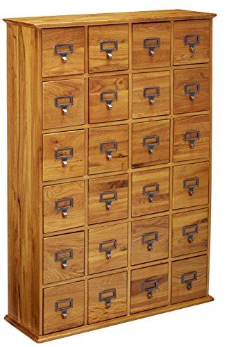 Leslie Dame Solid Oak Library Card File Media Cabinet, 24 Drawers, Oak