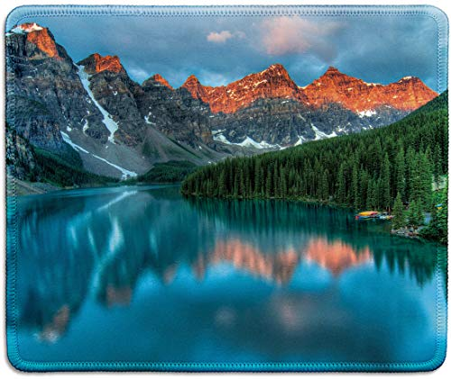 dealzEpic - Art Mousepad - Natural Rubber Mouse Pad Printed with Moraine Lake in Banff National Park, Alberta, Canada - Stitched Edges - 9.5x7.9 inches