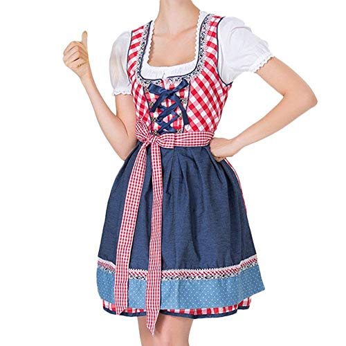 Lomelomme_Oktoberfest Tracht Kleid Damen Dirndl für Oktoberfest Traditionall Kostüme Kurzarm Mini 3 TLG Trachtenkleid mit Schürze und Bluse Karneval Halloween