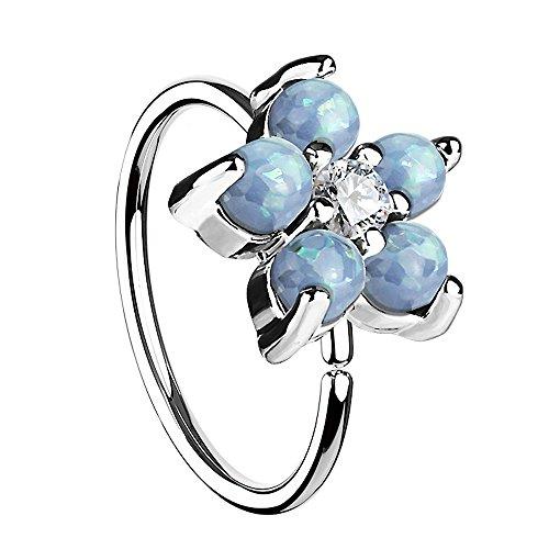 Piersando Universal Piercing Ring für Septum Tragus Helix Ohr Nase Lippe Brust Intim Horseshoe Hufeisen mit Opal Blumen Blüte Silber Aqua