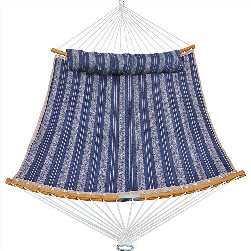 Patio Watcher 11 Feet Quilted Fabric Hammock with Curved-Bar Bamboo and Detachable Pillow, Double Hammock Perfect for Patio Yard Blue Stripes