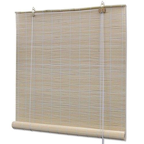 Galapara Persiana Estor Enrollable de Bambú Cortina de Madera persiana Enrollable para Ventana de Vestidor 120 x 160 cm, Natural