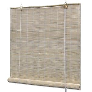 UnfadeMemory Persiana Enrollable de Bambú,Persiana Veneciana,Cortina Enrollable,Protección de Privacidad,Decoración de Habitación (120x160cm, Natural)