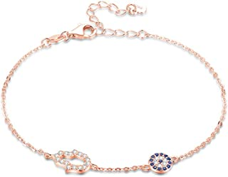Hamsa Hand of Fatima Evil Eye Bracelet Sterling Silver 925 Blue Cubic Zirconia Chain Adjustable 6.5