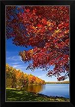 CANVAS ON DEMAND Maine, Lake George, New England, Skowhegan/Canaan Towns, Autumn at Lake George Black Framed Art.