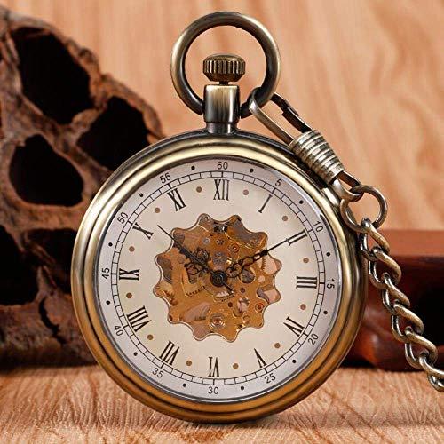 HYY-YY. Vintage Bronze Wind Up Taschenuhr Mechanische Handaufzug Roman Numberal Skeleton Fob Uhr mit Taschen-Ketten Uhren