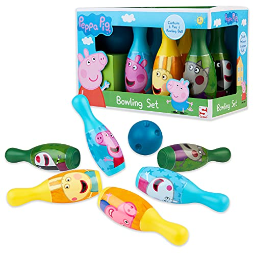 Peppa Pig Kegelspiel für Kinder, Bowling Set Kinder, Peppa Wutz Kinderspielzeug ab 3 Jahre, 6 Kegel und 1 Bowling Ball, Indoor und Outdoor Spielzeug