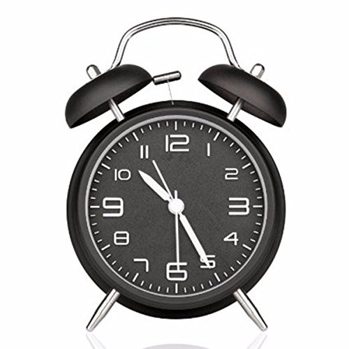 Alarm Clock,Drillpro 4'' Silent Quartz Analog Twin Bell Alarm Clock with Night Light, Stereoscopic Dial - Battery Operated Loud Alarm Clock for Light & Heavy Sleepers-Battery Not Included (Black)