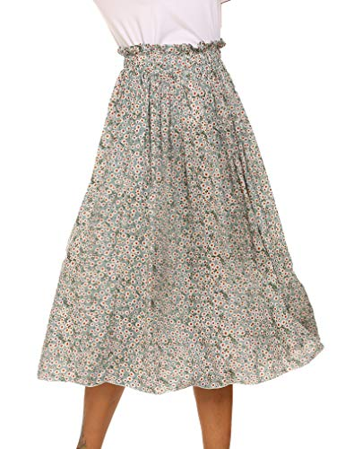 Women's Boho Floral Print Elastic High Waist Pleated A Line Midi Skirt with Pockets(M, Green Floral)