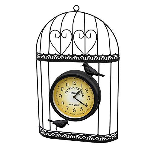 Greenfields Vintage Chic Shabby Style Vogelkäfig-Gartenuhr – Wandmontage, schwarzes Metall Vogelkäfig mit Vintage viktorianischem Bahnhofen-Effekt, ideal für Innen- und Außenbereich
