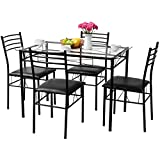 Tangkula Dining Table Set 5 Pieces Home Kitchen Dining Room Tempered Glass Top Table and Chairs Breaksfast Furniture Dinning Table with Chairs, Black