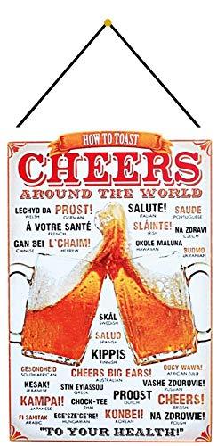 Metalen bord 20 x 30 cm gebogen met koord Cheers Around The World Prost Bier Salute Skol metaal decoratief geschenk bord