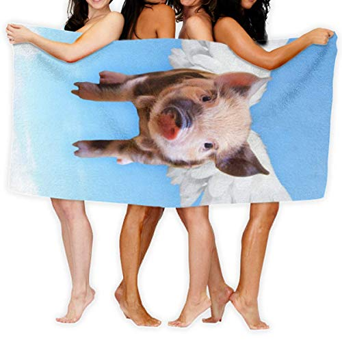 LOPEZ KENT Serviettes de Plage pour Femmes Hommes Blanket Sky Cute Flying Pork Wing Pigs Bath Sheets Novelty 100% Polyester Camping Large Towel Cover for Yoga Mat Tent Floor 31.5
