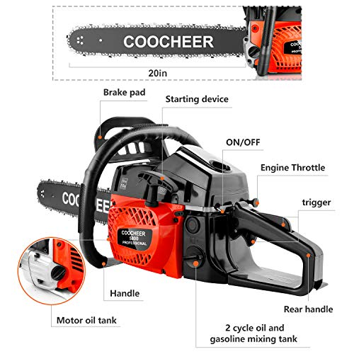 COOCHEER 62CC Gas Chainsaws, 3.5HP Guide Board Chainsaw Gasoline Powered Handheld Cordless Petrol Gasoline Chain Saw, 20_Inch Chainsaw for Farm, Garden and Ranch (Red Black)
