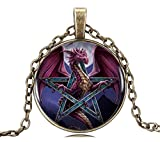 GEMINGO All New Dragon Pendant Necklace Glass Dome Screen Wiccan Pentagram Necklace Pentacle Jewelry for Women (Golden)