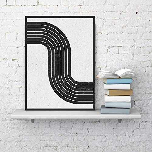 Middeleeuw, moderne abstracte kunst, canvas, schilderijen, posters, opdruk, vintage, geometrisch eenvoudig, zwart, wit, blok, afbeelding, huis decoratie, 40x60cmx1 niet ingelijst