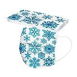 Amuse-MIUMIU 10 Stück Einweg 3 lagig MundschutZ mit Weihnachten Schneeflocke Motiv Bedruckte,Atmungsaktive Multifunktionstuch Bandana Halstuch Schals für Unisex Erwachsene MundBedeckung