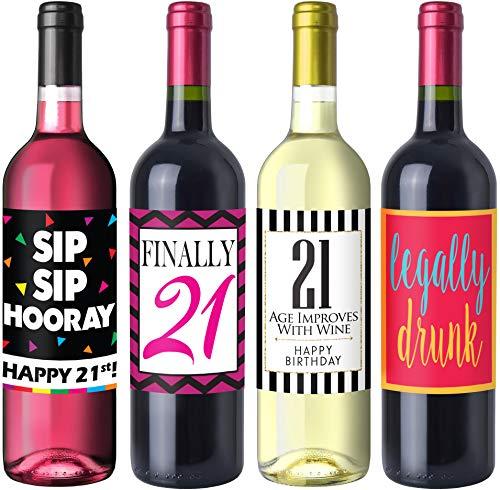 Sterling James Co. Schicke Weinflaschen-Etiketten für 21. Geburtstag – Geburtstagsparty Accessoires, Ideen und Dekorationen – Lustige Geburtstagsgeschenke für Frauen