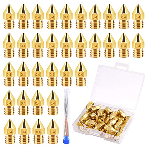 TUPARKA 40Pcs 0.4mm Ender 3 Nozzle Kit 3D Printer Nozzles MK8 Brass Extruder Nozzles for Makerbot Creality CR-10 with Storage Box