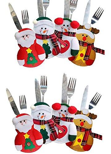 Harlem H 8 Stücke Weihnachten Bestecktaschen Geschirrhalter Besteckhalter Weihnachtsmann Schneemann Tischdeko Besteckbeutel Rentier Party Weihnachtsgeschenk