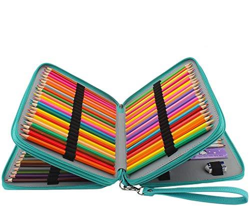 Soucolor 168 Slots Pencil Case PU Leather Handy Pencil Wrap with Zipper Super Large Capacity Pen Bag for Prismacolor Premier Colored Pencils, Crayola Colored Pencils, Marco Pens (Green)