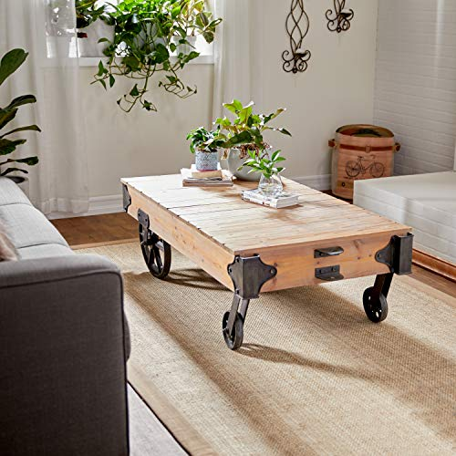 Deco 79 Wood Cart Coffee Table, 56 by 16-1/2-Inch
