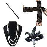 ResPai 1920s Jahre Accessoires Flapper Set Stirnband Perlen Halskette Lange Schwarze Handschuhe Zigarettenspitze Great Gatsby Motto Party Kleider Damen Kostüm Accessoires (Elizabeth) -