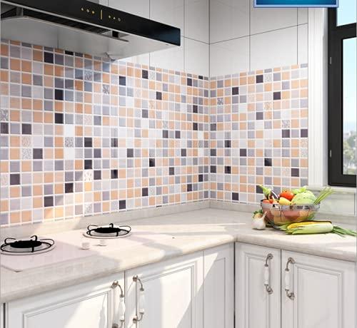 Neemosi - Adhesivo decorativo para azulejos, diseño de mosaico, antigrasa, para cocina y baño, 60 x 300 cm