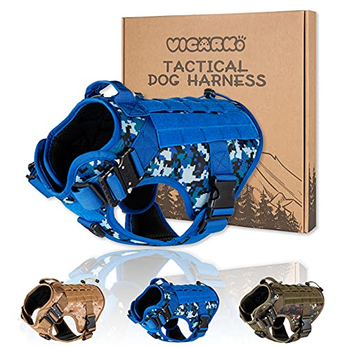 VICARKO Tactical Dog Harness, Dog Vest, Adjustable, with 2X Metal Buckles, Handle, No Pull Leash Clips, MOLLE, Hook & Loop, for K9 Military, Training, Sea Camo, Small Size, 40-55 lbs