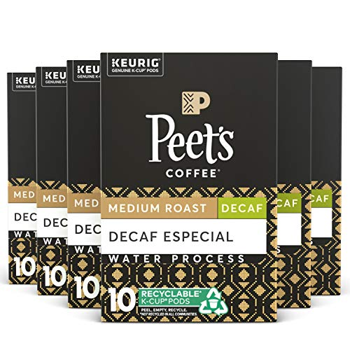 Peets Coffee Decaf Especial K-Cup Coffee Pods for Keurig Brewers, Medium Roast, 60 Pods