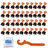 HASTHIP® 50 PCS Tile Leveling System Kit, Tile Leveling System with Special Wrench,Reusable Spacer Flooring Level Tile levellers Set for 5mm-20 MM Tile Tools with 1.5mm Cross Clip