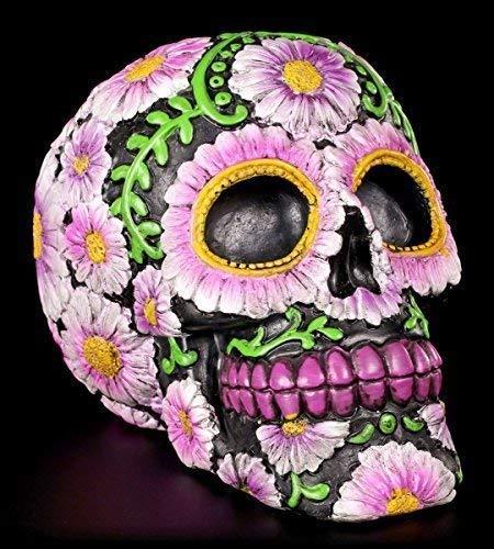 Totenkopf Figur mit Blumenmuster | Dia de Muertos - Tag der Toten | lila bunt