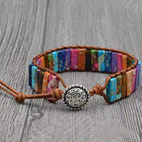 Aniversario del día de la madre Parejas amantes Chakra pulsera joyería hecha a mano multicolor piedra natural tubo cuentas pulsera de cuero para hombres mujeres Regalo de cumpleaños de San Valentín