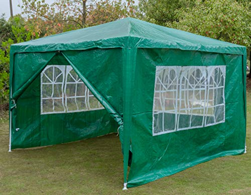 SiKy Large Event Tent, 3x3m Waterproof Gazebo For Festivals Garden Camping Portable Sun Shelter With Sun Protection & 4 Removeable Walls(Green)