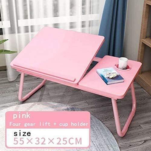 aycpg SSGFZ portátil Tabla Simple Ordenador de Escritorio con el Ventilador for la Cama del sofá Plegable portátil Ajustable Escritorio En La Cama (Color : Pink)